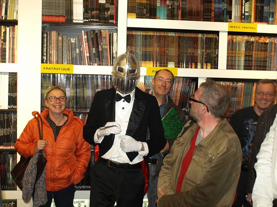 Mr Choc et l'équipe du lancement de Mr Choc à la librairie Bulles du Mans - Editions DUPUIS