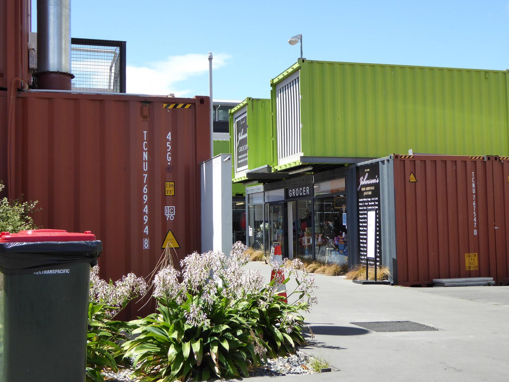 Improvisiertes Einkaufsviertel in Christchurch