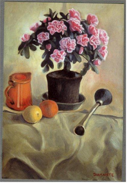 Natura morta con azalee, opera di Patrizia Diamante, olio su tela. 1989