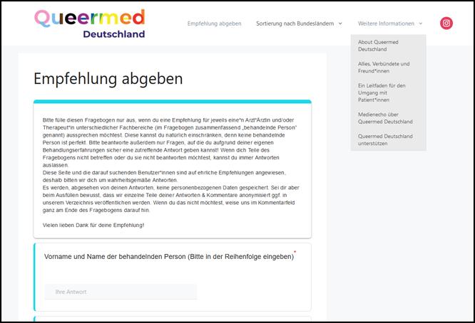 Bild: Screenshot Queermed Deutschland
