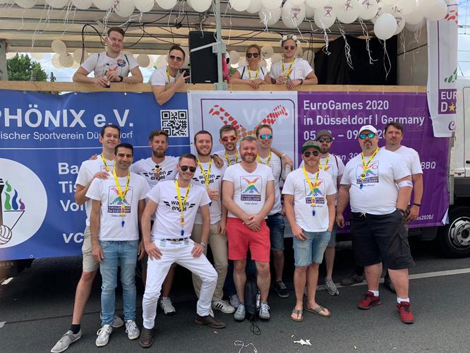 Bild: Das Team der EuroGames 2020 beim Kölner CSD 2019