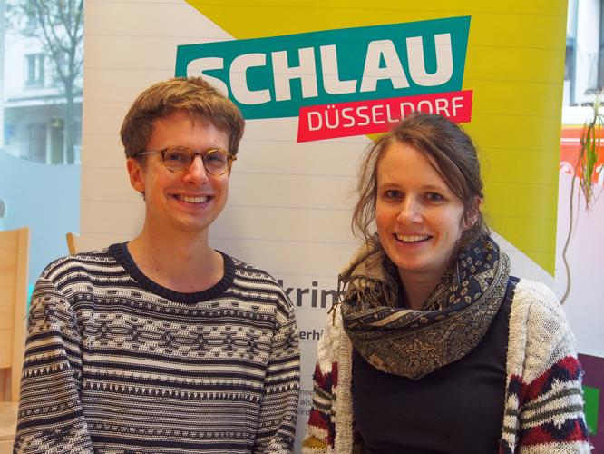 Bild: Kjell Herold und Wiebke Herter vom SCHLAU-Team Düsseldorf