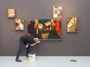 Bild: Wandmaler in der Cranach-Ausstellung