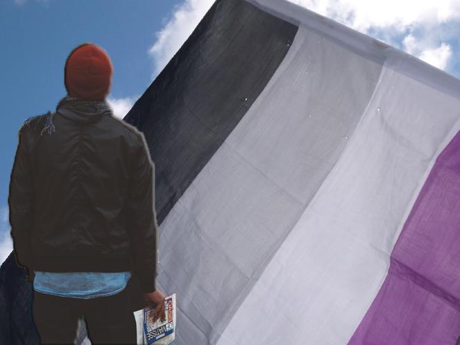 Bild: Mensch vor Asexuellen-Flagge