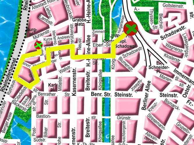 Bild: Stadtplan mit Streckenverlauf der Fußgängergruppe zur Fahrrad-Demo