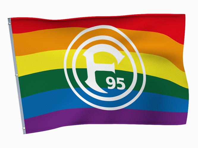 Bild: Regenbogenfahne mit Logo von Fortuna Düsseldorf