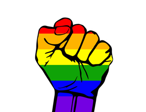 Bild: Protestfaust in Regenbogenfarben
