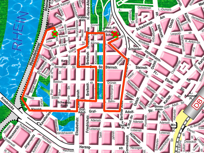 Bild: Stadtplan mit Streckenverlauf der Fahrrad-Demo