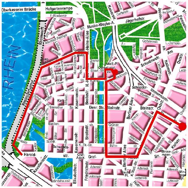 Bild: Stadtplan mit CSD-Demo-Zugstrecke