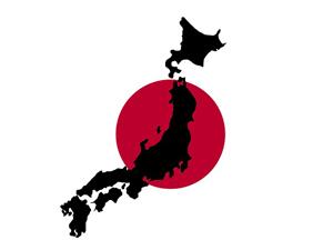 Bild: Japan-Flagge und Landesgrundriss