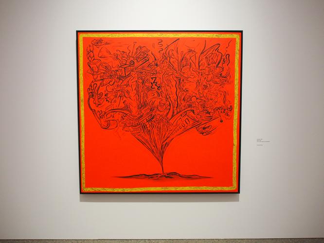 Bild: Rotes Kunstwerk von Keith Haring