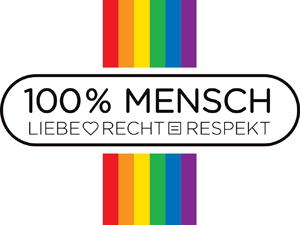 Logo: 100 % Mensch - Liebe, Recht, Respekt