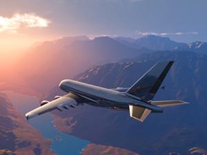 Bild: Flugzeug über Bergen