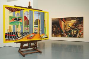 """Bild: """"Rede in der Schule"""" von Thomas Huber und """"Der Vorhang"""" von Neo Rauch"""