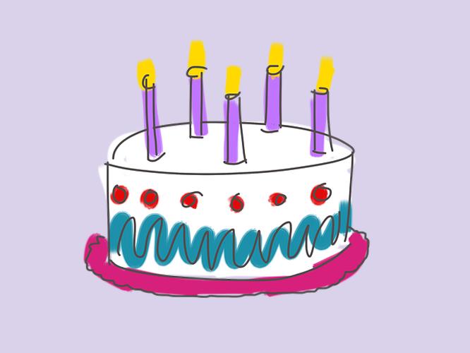 Bild: Torte mit fünf Kerzen
