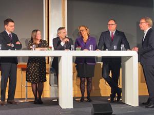 Bild: Podiumsdiskussion mit Andreas Bothe, Henrike Tetz, Thomas Geisel, Aletta Gräfin von Hardenberg, Harald Christ und Christian Herrenberg
