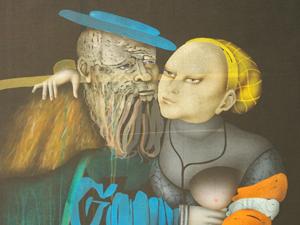 """Bild: Ausschnitt aus Paul Wunderlichs """"Der verliebte Alte"""""""