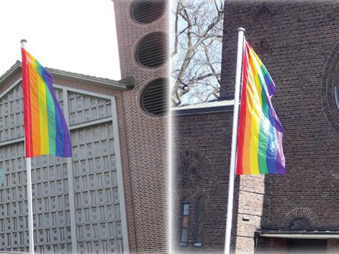 Bild: Regenbogenflaggen an Katholischen Kirche in Düsseldorf