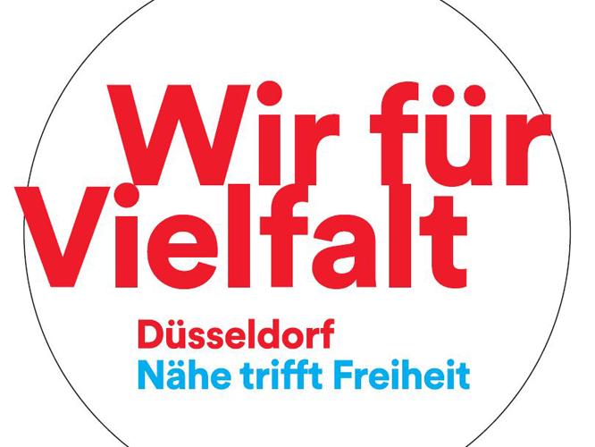 Logo: Wir für Vielfalt - Düsseldorf - Nähe trifft Freiheit