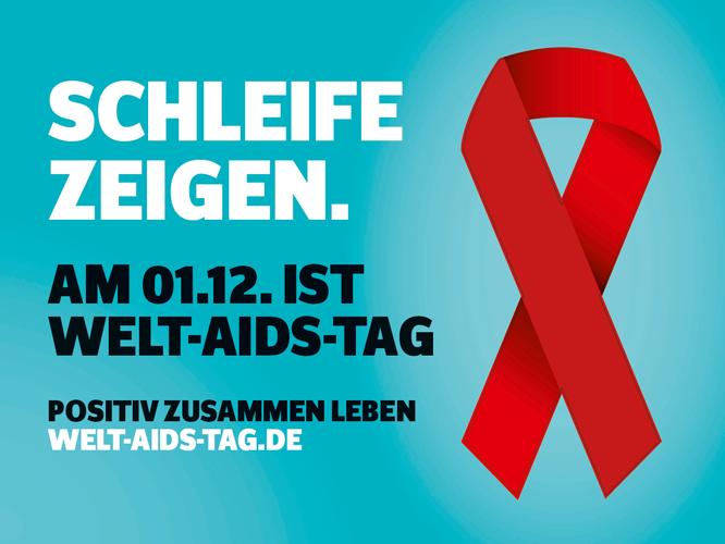 Bild: Schleife zeigen. Welt-Aids-Tag am 01. 12.