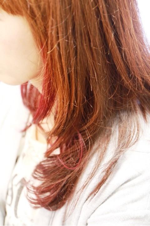 舞鶴 美容室 美容院 カラー ポイントカラー パーマ レッドカラー オーガニック