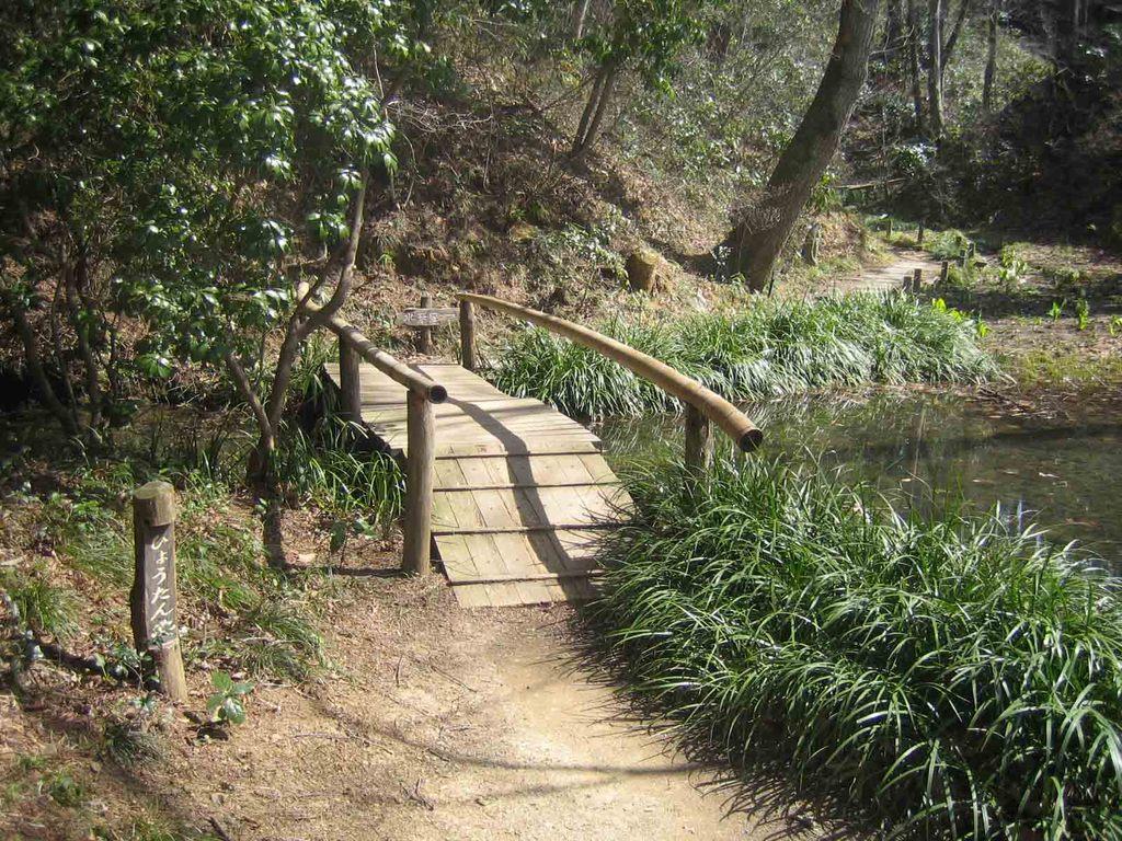 ひょうたん池の橋の向こうには…