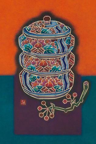 牡丹重箱とサルトリイバラ