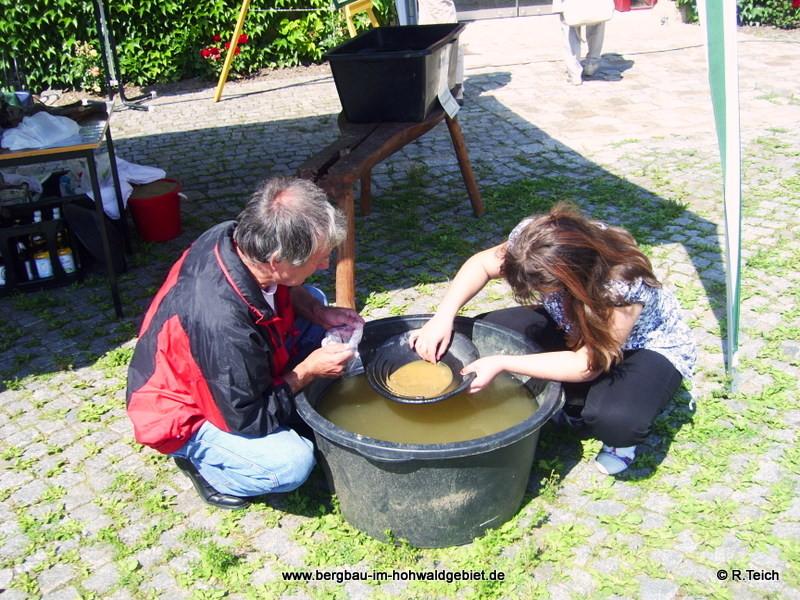 Gunther Müller vom Bergbau- Traditionsverein Hohwald e.V. beim Goldwaschen
