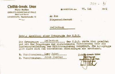 Gründungsurkunde vom 11. Mai 1946