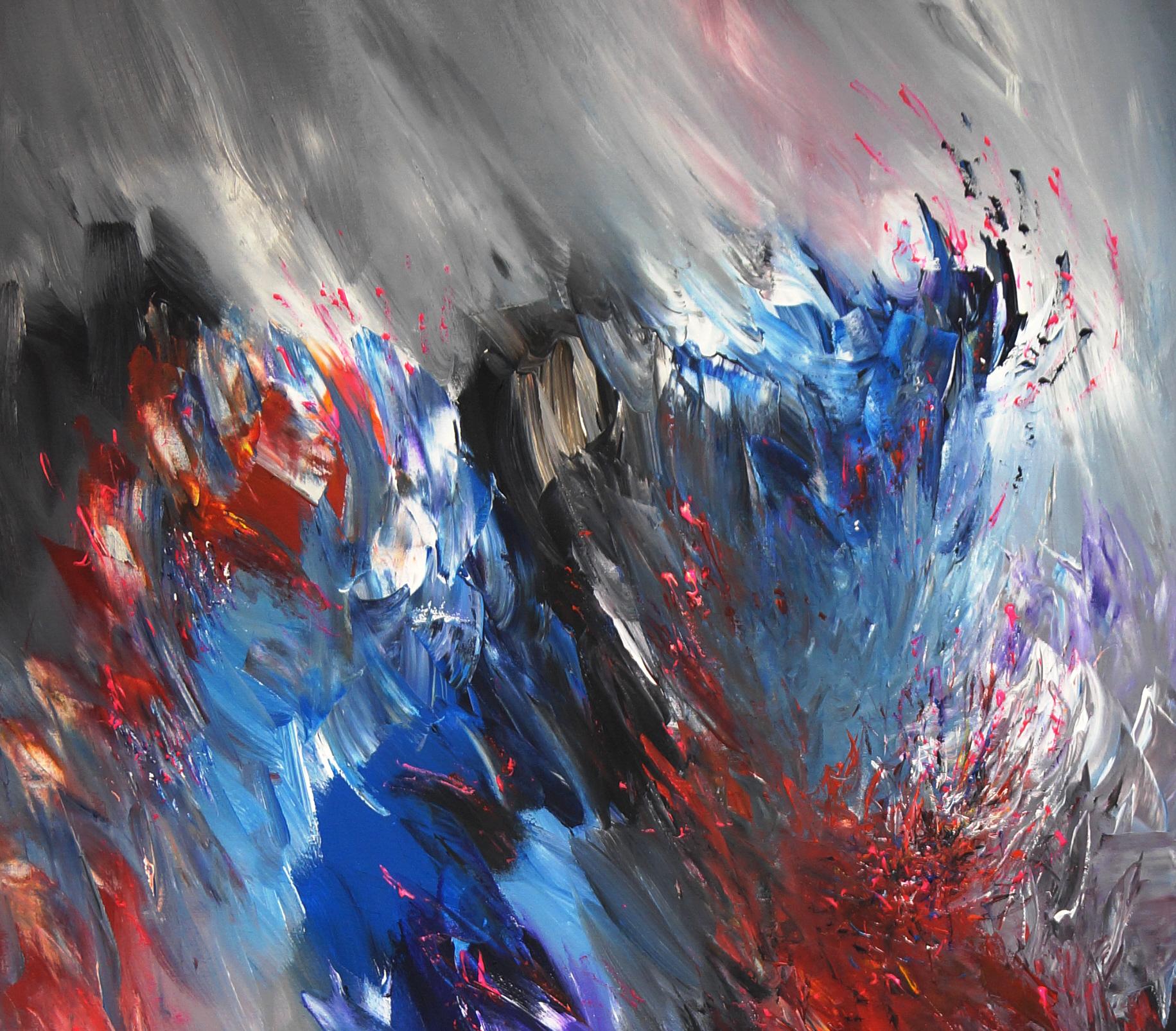 Abstraktes Acrylbild mit rot. Original Gemälde auf Leinwand.