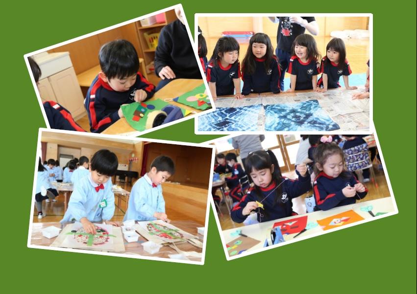 <手芸教室> 春にはお父さんやお母さんへのプレゼント作り。冬には年中さんからチクチク針仕事。手づくりって楽しいね。