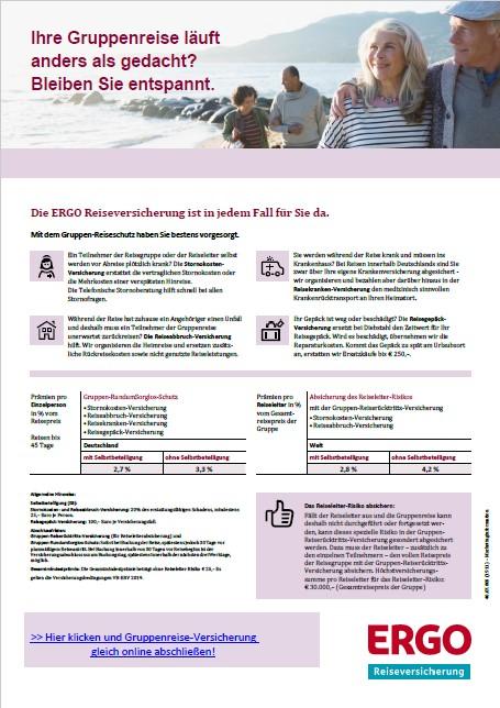PDF Reiseschutzflyer der ERGO Reiseversicherung für Gruppenreisen