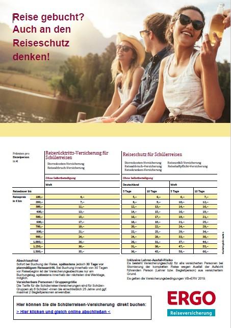 PDF Reiseschutzflyer der ERGO Reiseversicherung für Klassenfahrten und Schülerfahrten