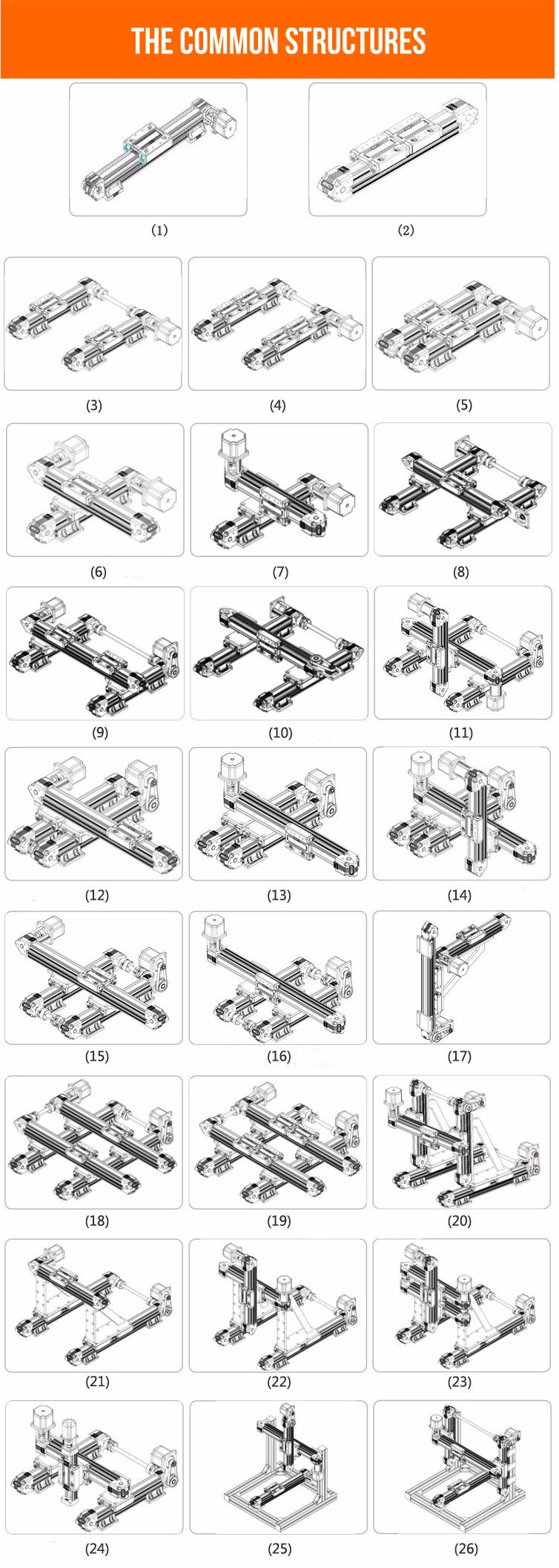 Linear guide rail common sturctures