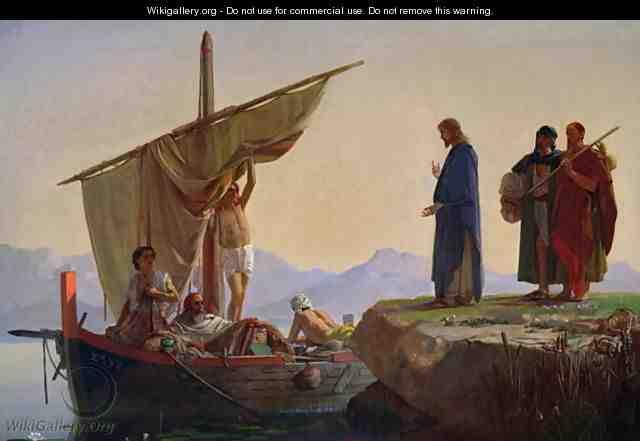エドワード・アーミテージ「キリスト、使徒ヤコブとヨハネを召し出す」、1869年