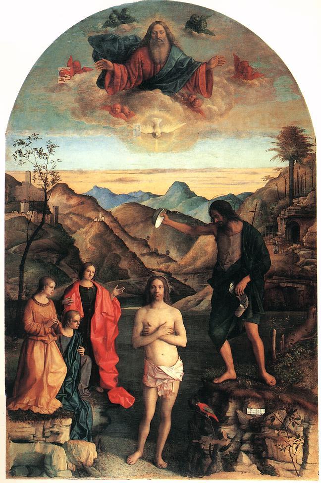 ジョヴァンニ・ベッリーニ「キリストの洗礼」、1500―1502年、サンタ・コロナ教会(ヴィツェンツァ)