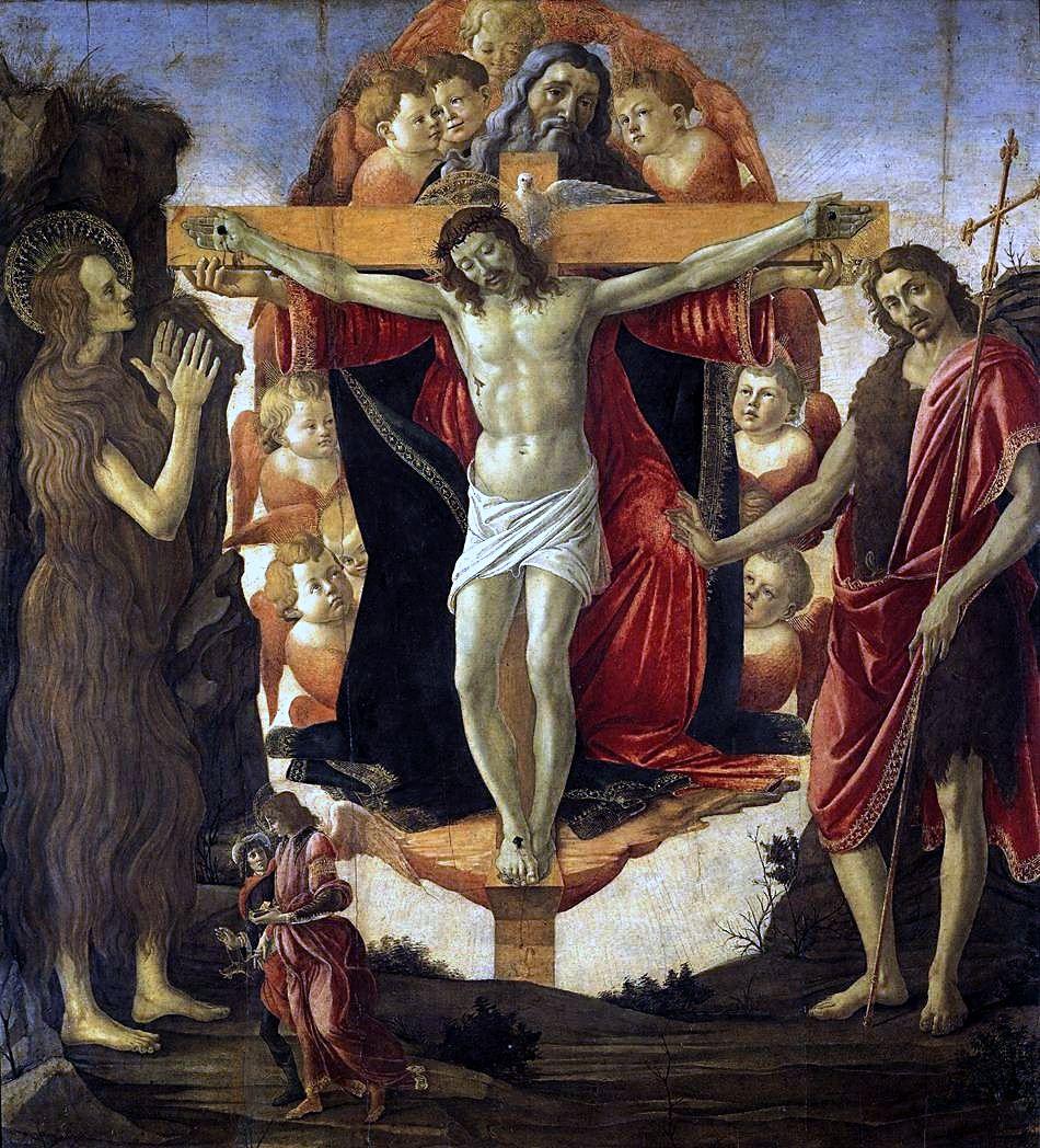 ボッティチェリ「聖三位一体とマグダラのマリア、洗礼者ヨハネ、トビア、天使」、1491―93年、コートールド美術研究所所蔵