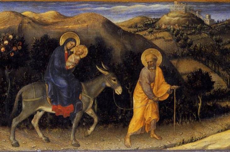 ジェンティーレ・ダ・ファブリアーノ「エジプトへの逃避の途上の休息」、1423年、ウフィツィ美術館所蔵