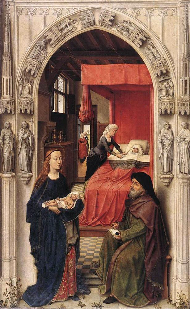 ロヒール・ファン・デル・ウェイデン「洗礼者聖ヨハネの誕生」、1455―60年、ベルリン美術館所蔵