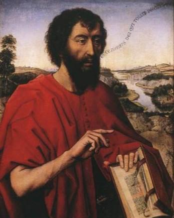 ロヒール・ファン・デル・ウェイデン「洗礼者ヨハネ」、1452年、ルーブル美術館所蔵