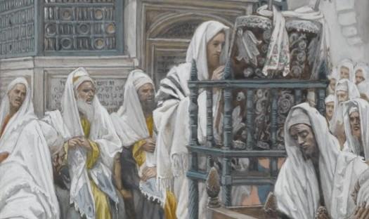 ジェームズ・ティソ「イエス、会堂で書物を開く」、1886―1894年、ブルックリン美術館