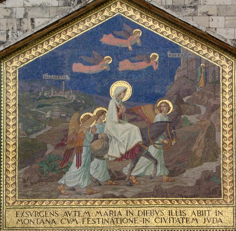 エンカレム訪問教会(マリアがエリサベトを訪ねたと考えられる場所に建てられた教会)のモザイク(刻まれている文字はラテン語で、ルカ福音書1・39)