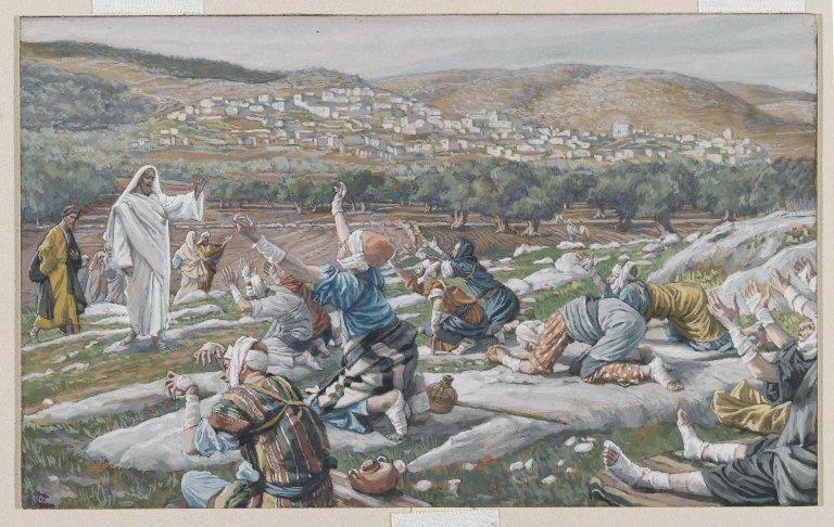 ジェームズ・ティソ「10人のレプラ患者の清め」、1886―1894年、ブルックリン美術館