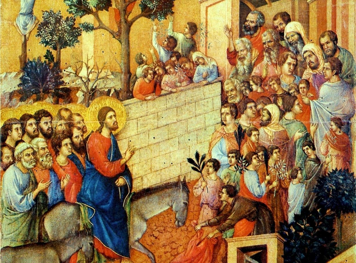 ドゥッチョ・ディ・ブオニンセーニャ「マエスタ―エルサレム入城」、1311年頃、シエナ大聖堂付属美術館所蔵