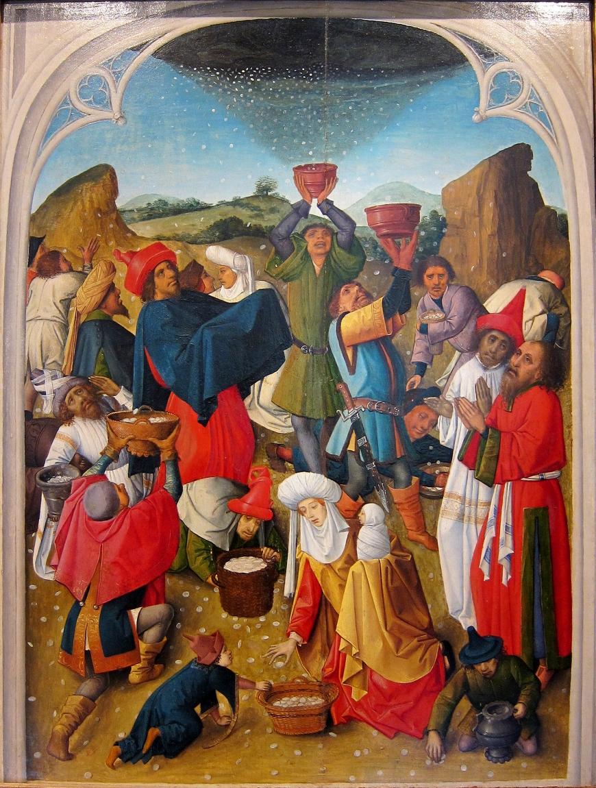 「マナの収集」、1460―80年、シャルトルーズ美術館(ドゥエ)所蔵
