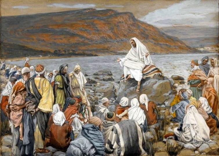 ジェームズ・ティソ「イエス、湖の辺りで人々に教える」、1886―1894年、ブルックリン美術館所蔵