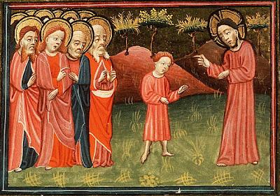 アレクサンダー・マスター「イエス、一人の子供を弟子たちの真ん中に立たせる」、1430年、オランダ国立美術館(デン・ハーグ)所蔵