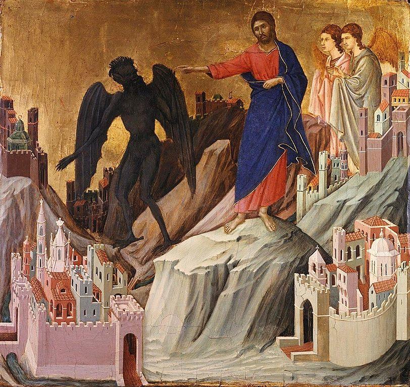 ドゥッチョ・ディ・ブオニンセーニャ「山の上での誘惑」、1308―1311年、フリック・コレクション