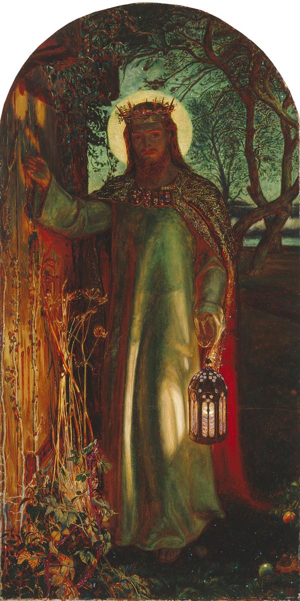 ウィリアム・ホルマン・ハント「世の光」、1851-1856年、マンチェスター市立美術館所蔵。イエスが戸を叩く絵画は多数あるが、この絵はそのもとになったもの。