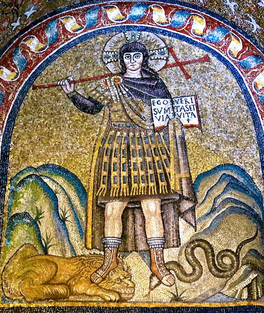「戦士としてのキリスト」、6世紀、アルチヴェスコヴィーレ礼拝堂( 大司教館礼拝堂、ラヴェンナ)モザイク